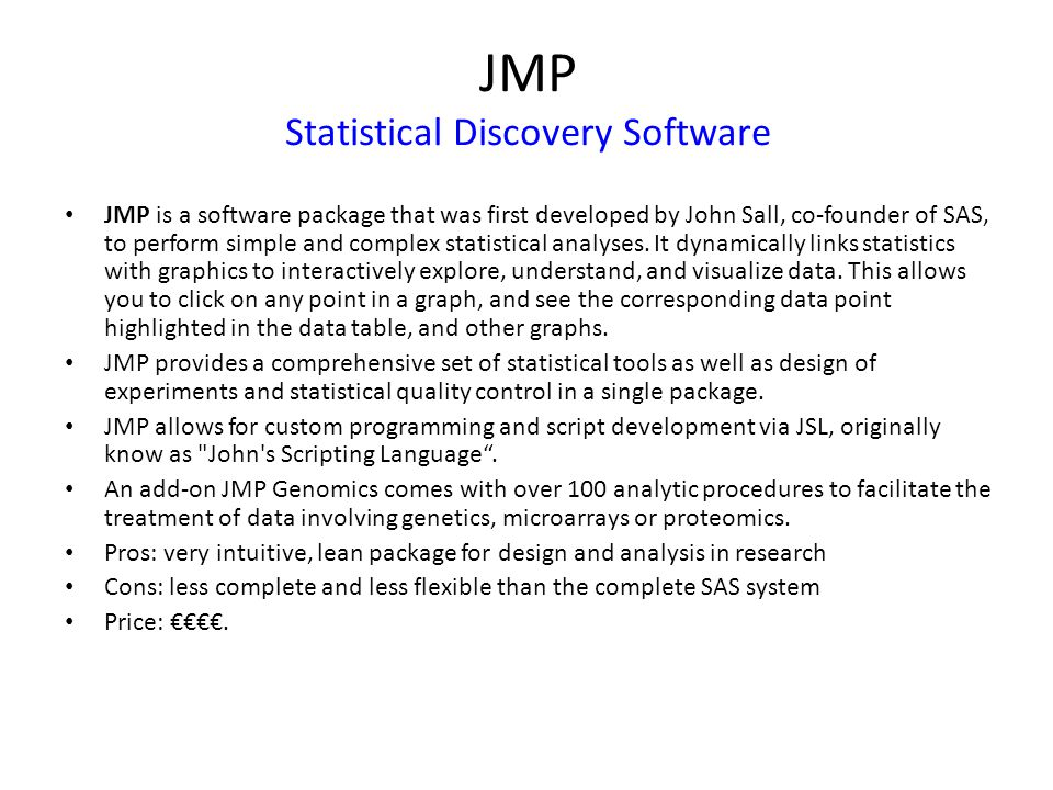 JMP Statistical Discovery Software