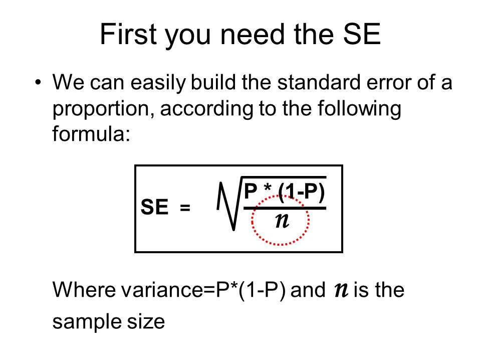 First you need the SE We can easily build the standard error of a proportion, according to the following formula:
