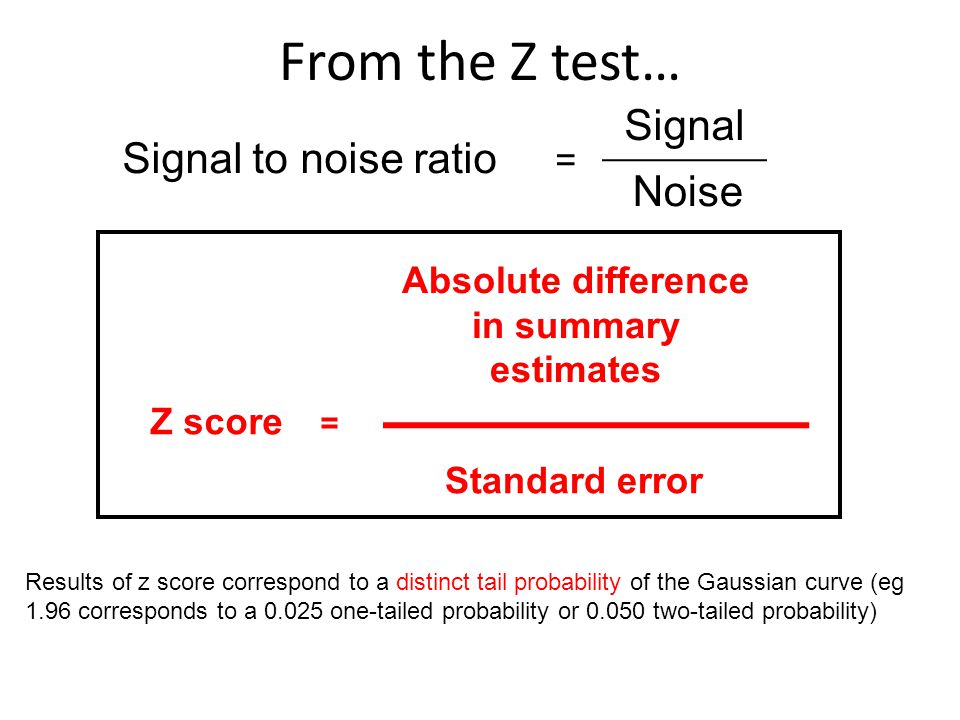 From the Z test… Signal Signal to noise ratio Noise =