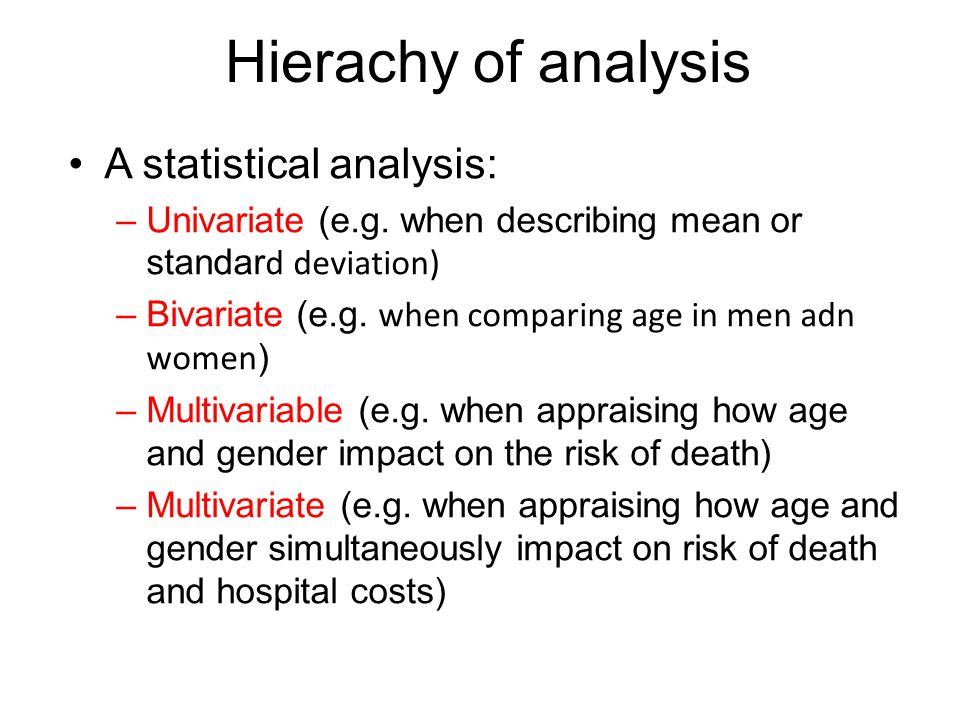Hierachy of analysis A statistical analysis: