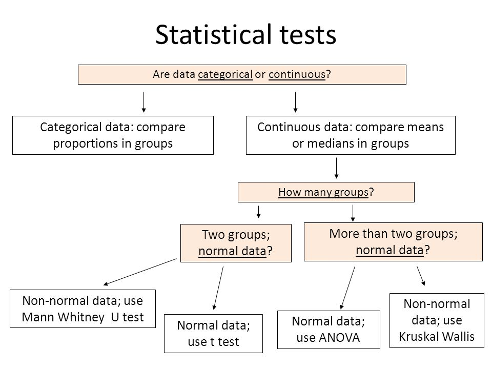 Statistical tests Categorical data: compare proportions in groups
