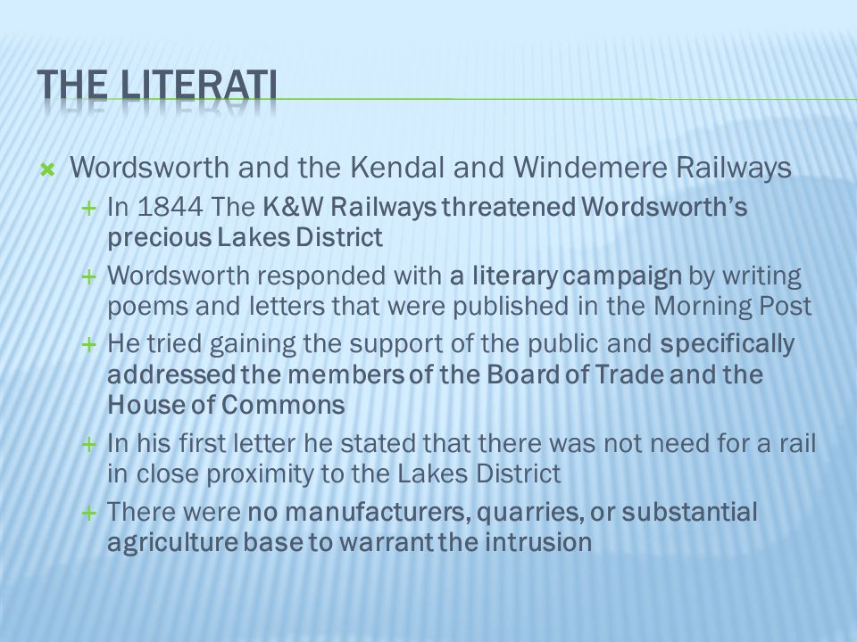 The literati Wordsworth and the Kendal and Windemere Railways