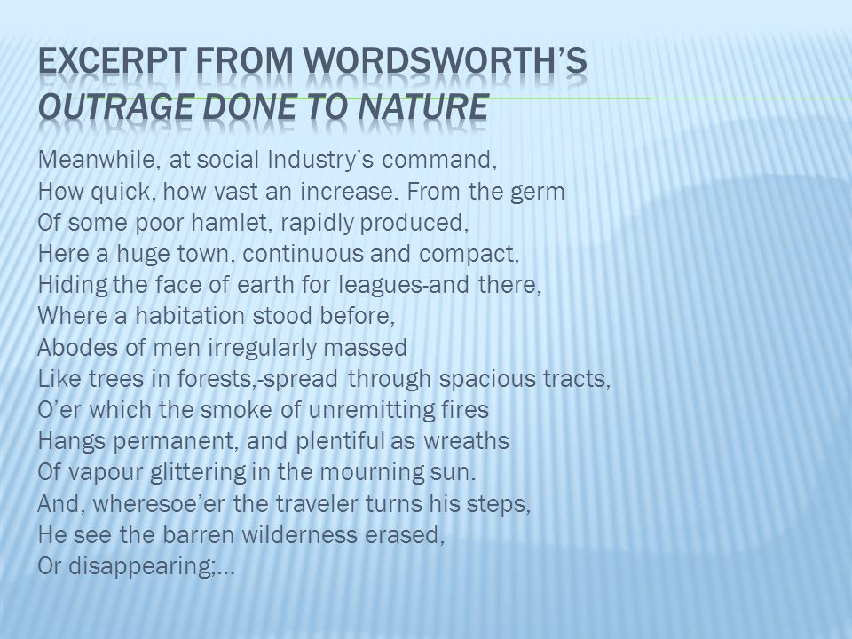 Excerpt from Wordsworth's outrage done to nature