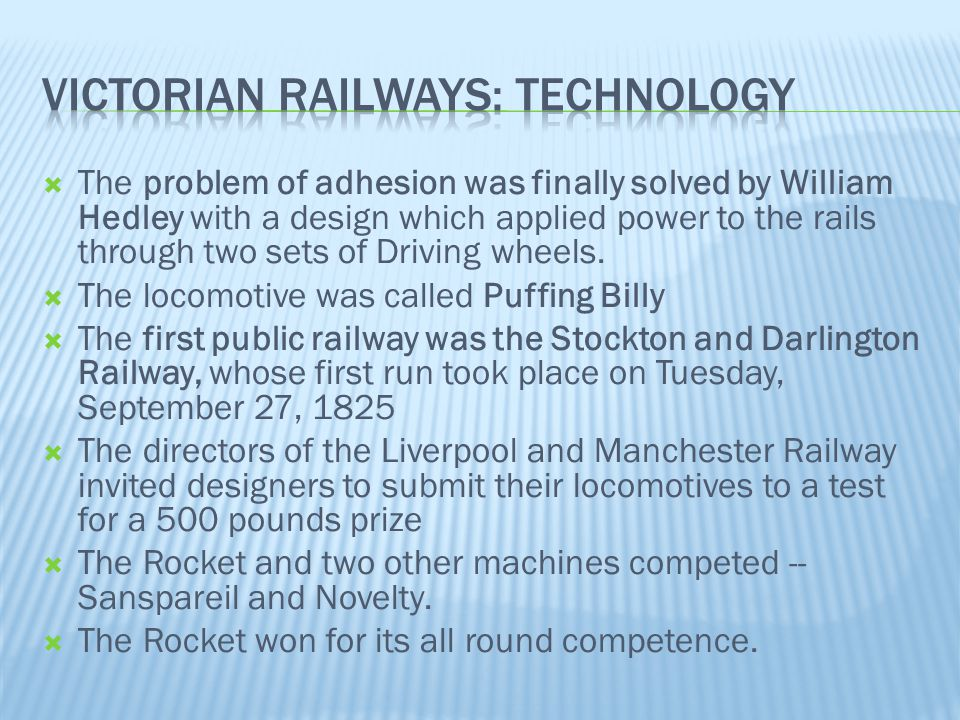 Victorian railways: technology