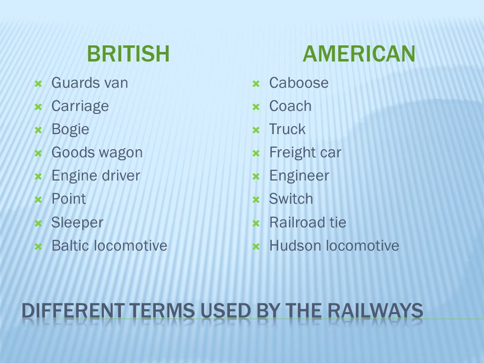 different terms used by the railways