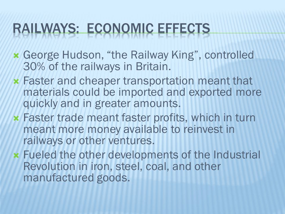 Railways: Economic Effects
