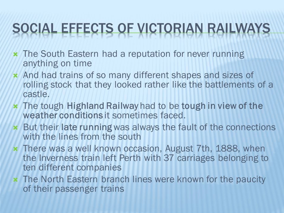 Social effects of Victorian Railways
