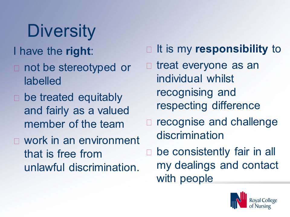 Diversity It is my responsibility to I have the right:
