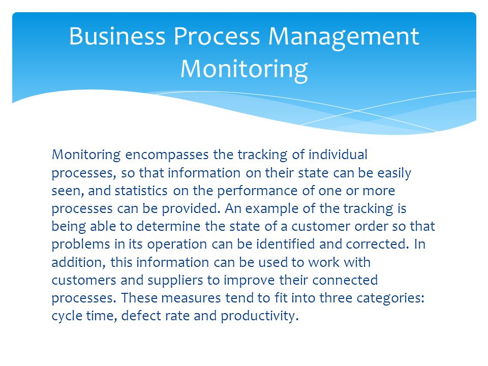 Business Process Management Monitoring
