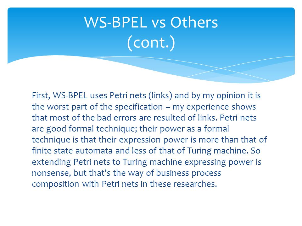 WS-BPEL vs Others (cont.)