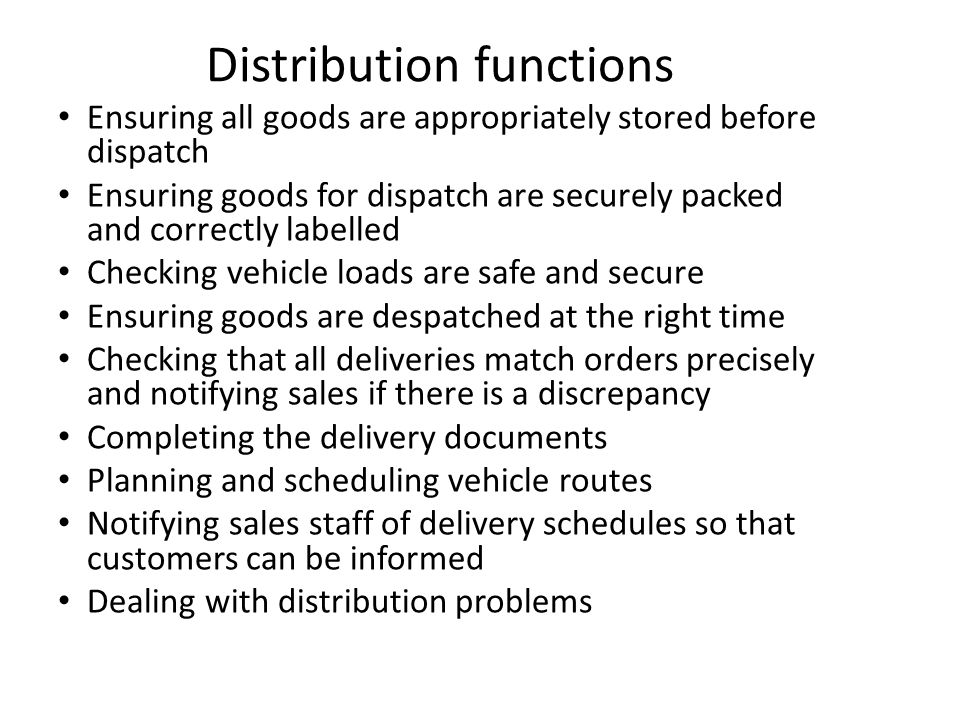 Distribution functions