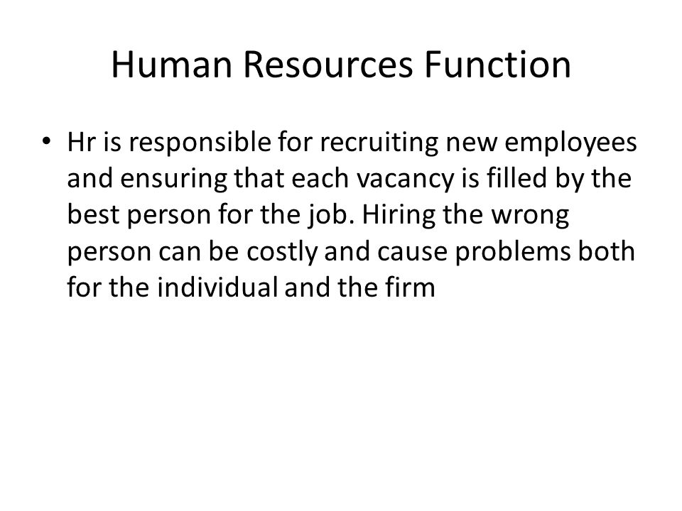Human Resources Function