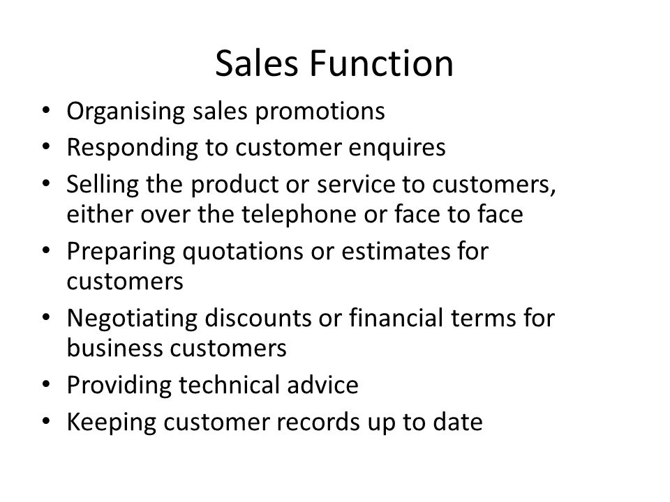 Sales Function Organising sales promotions