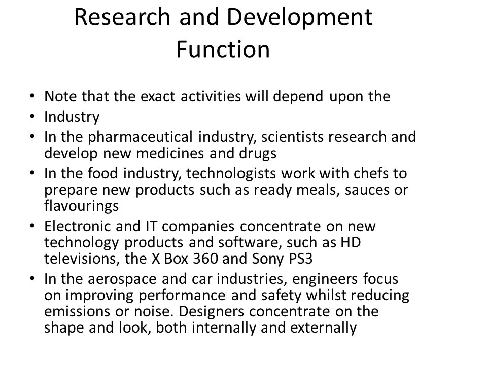Research and Development Function