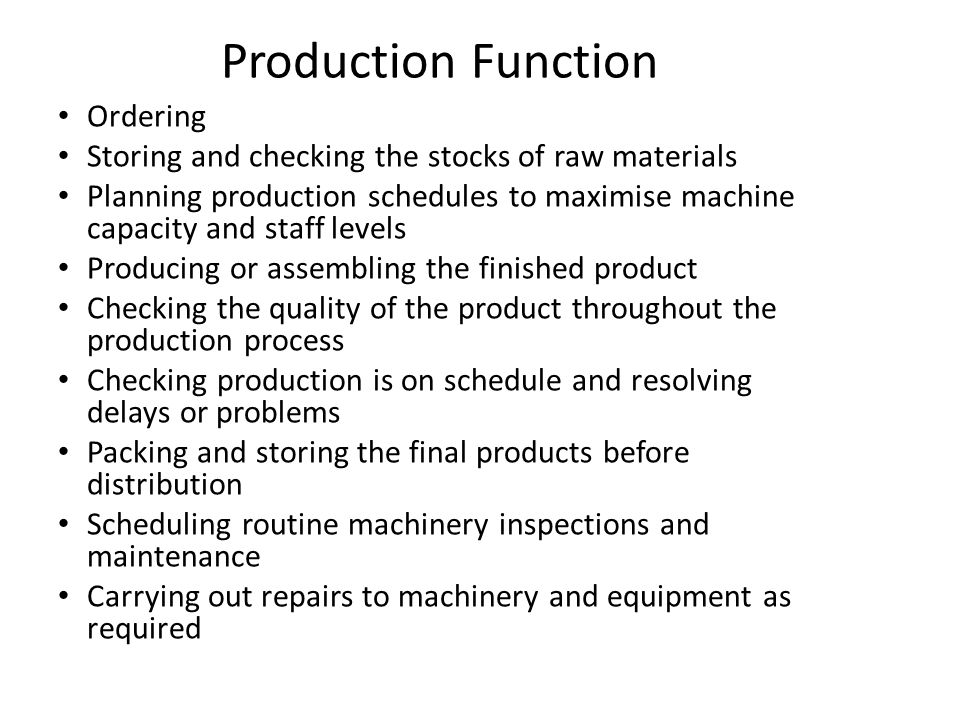 Production Function Ordering