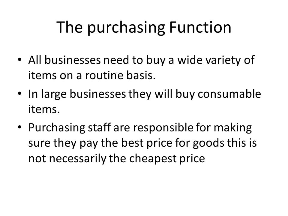 The purchasing Function