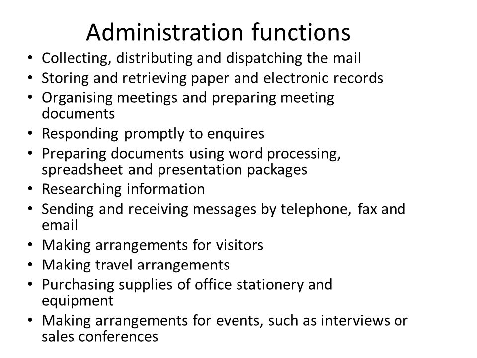 Administration functions