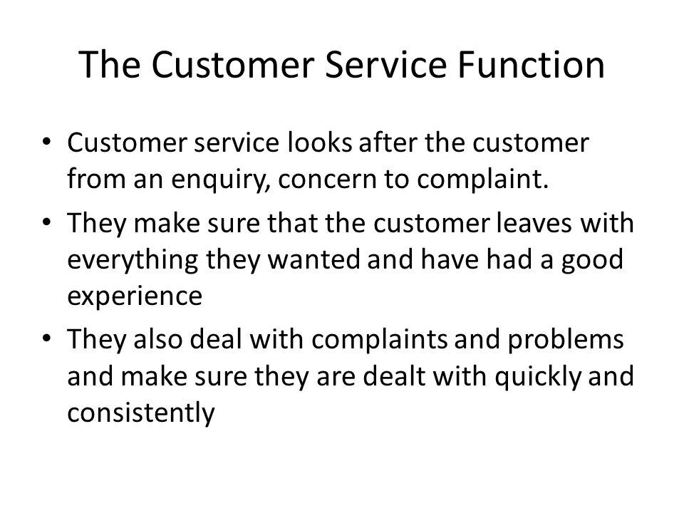 The Customer Service Function