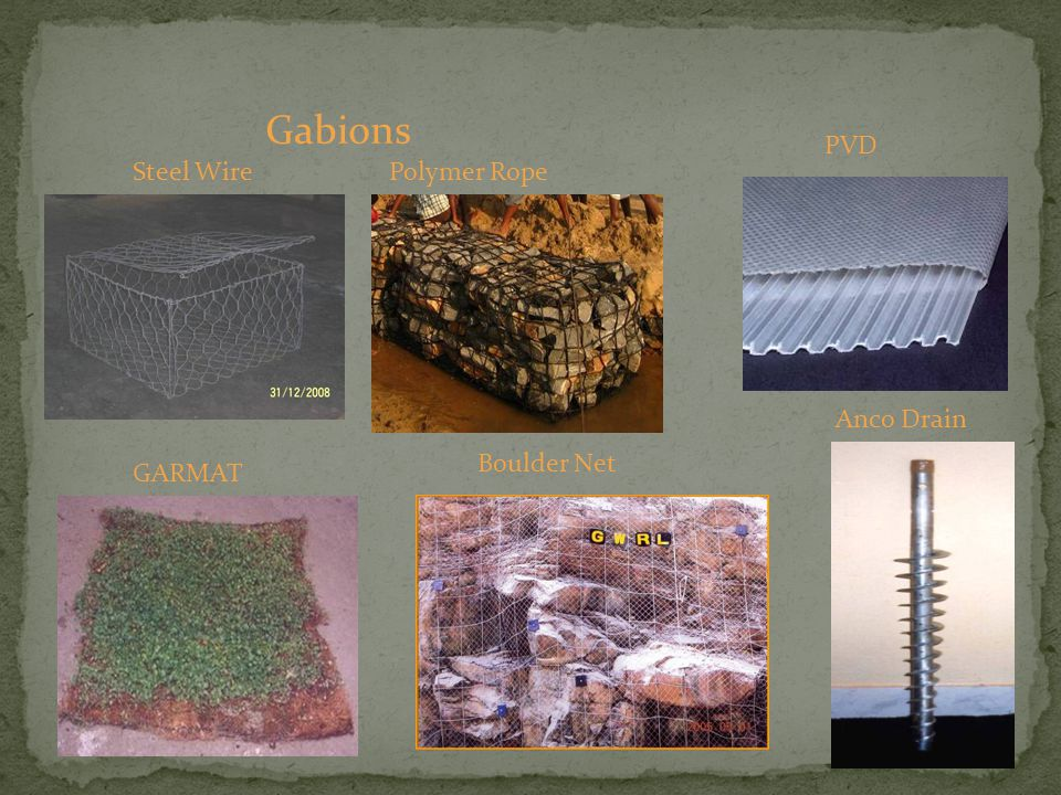 Gabions PVD Steel Wire Polymer Rope Anco Drain Boulder Net GARMAT