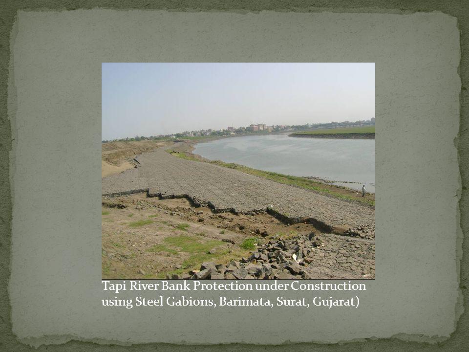 Tapi River Bank Protection under Construction using Steel Gabions, Barimata, Surat, Gujarat)