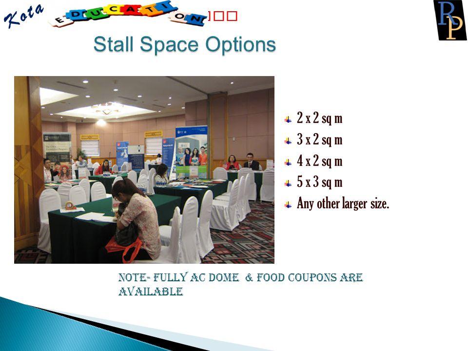 Kota Stall Space Options 2 x 2 sq m 3 x 2 sq m 4 x 2 sq m 5 x 3 sq m