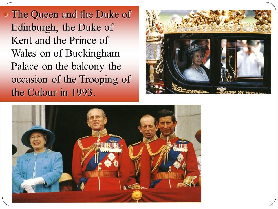 The Queen and the Duke of Edinburgh, the Duke of Kent and the Prince of Wales on of Buckingham Palace on the balcony the occasion of the Trooping of the Colour in 1993.