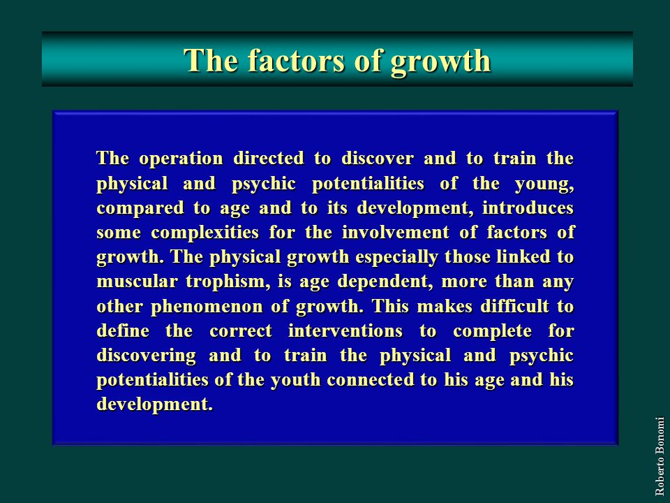 The factors of growth