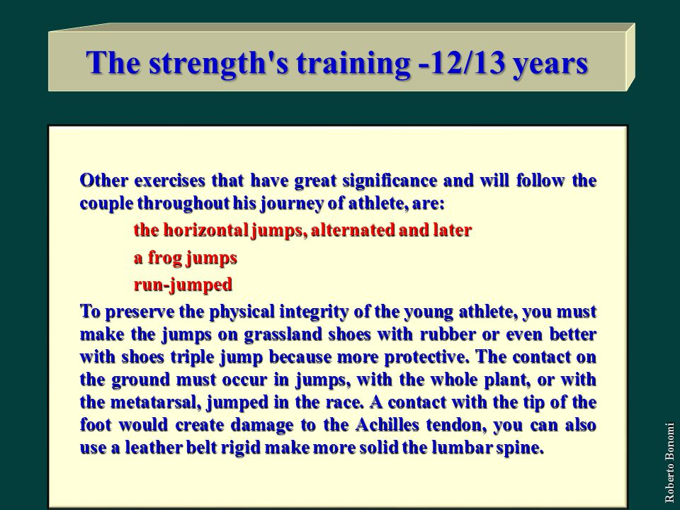 The strength s training -12/13 years