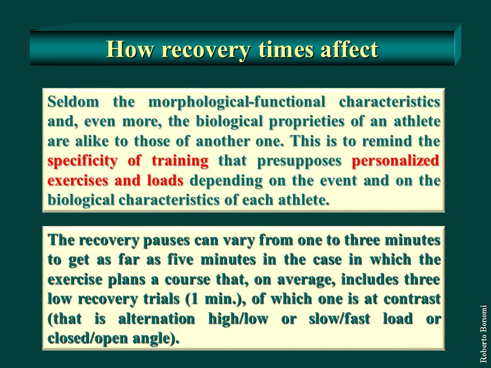 How recovery times affect