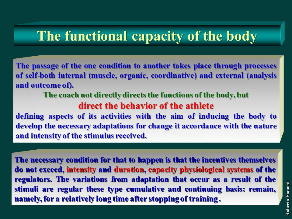 The functional capacity of the body