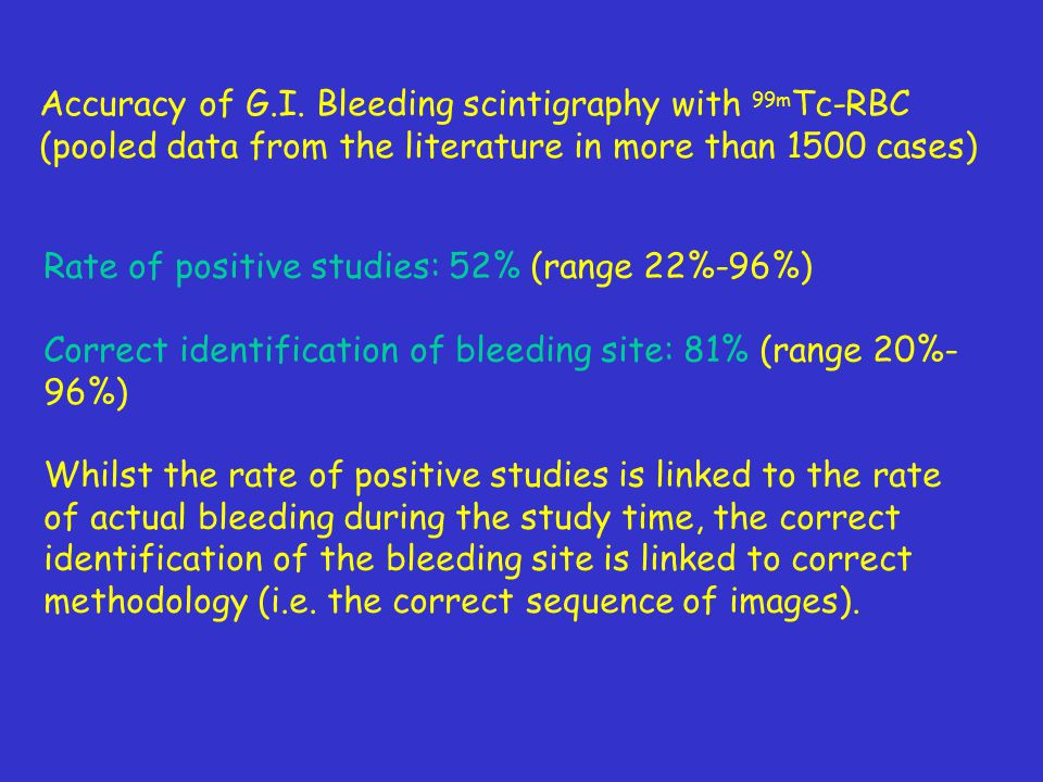 Accuracy of G.I. Bleeding scintigraphy with 99mTc-RBC (pooled data from the literature in more than 1500 cases)