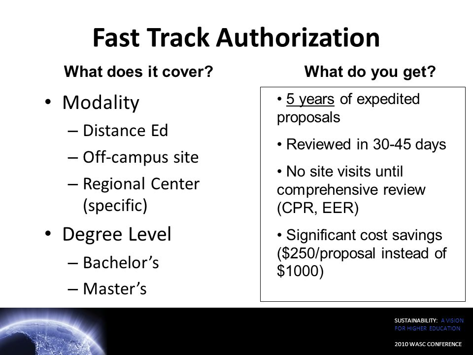 Fast Track Authorization