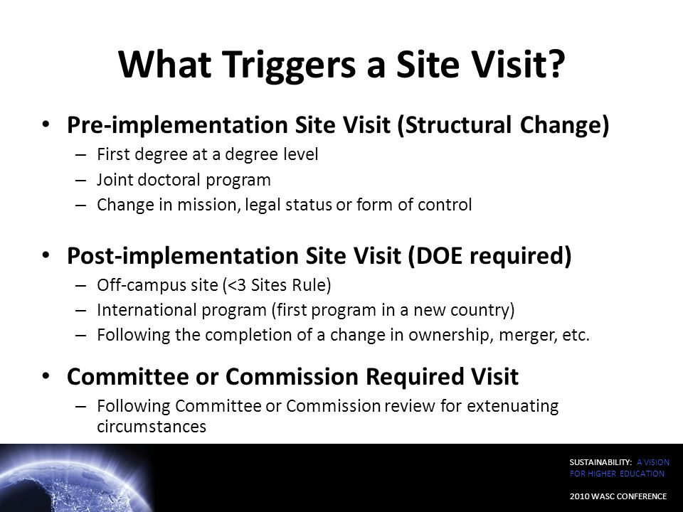 What Triggers a Site Visit