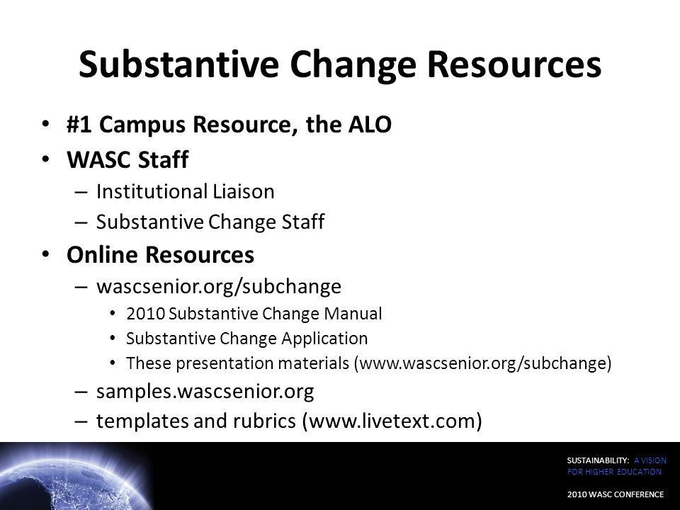 Substantive Change Resources