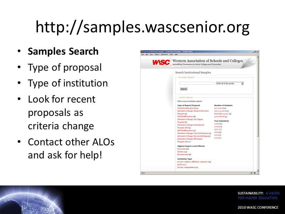 http://samples.wascsenior.org Samples Search Type of proposal