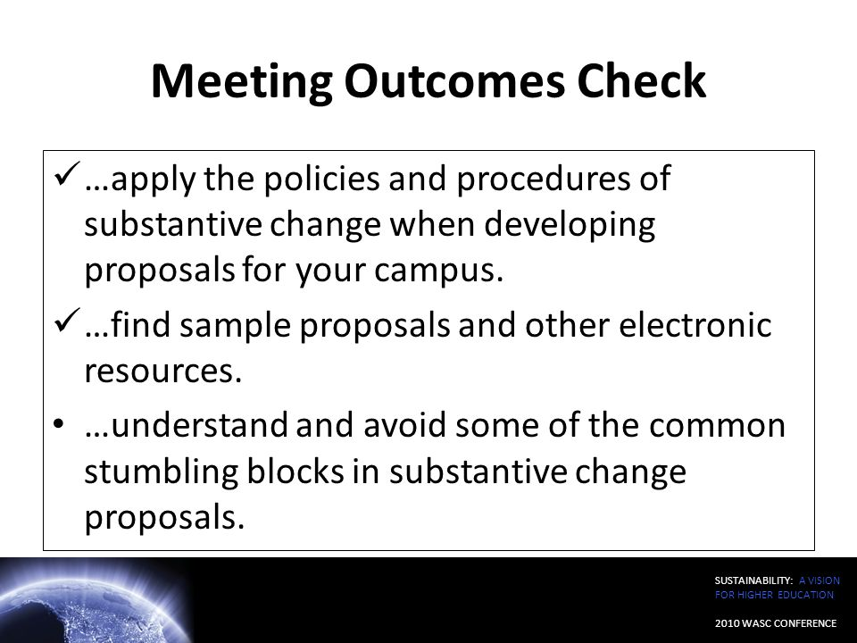 Meeting Outcomes Check