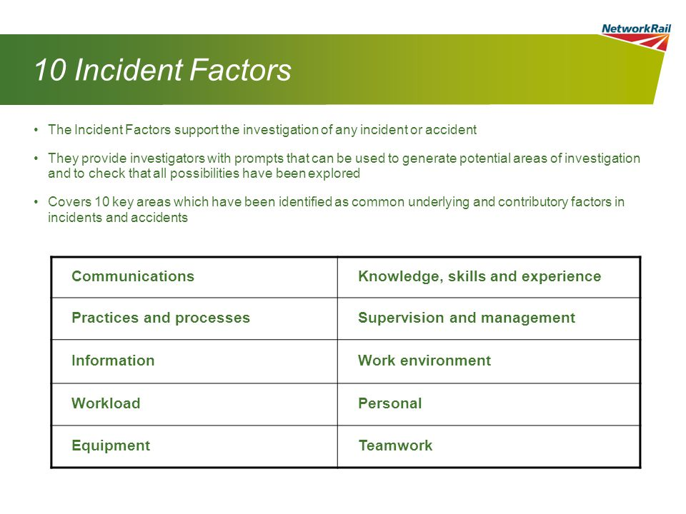 10 Incident Factors Communications Knowledge, skills and experience