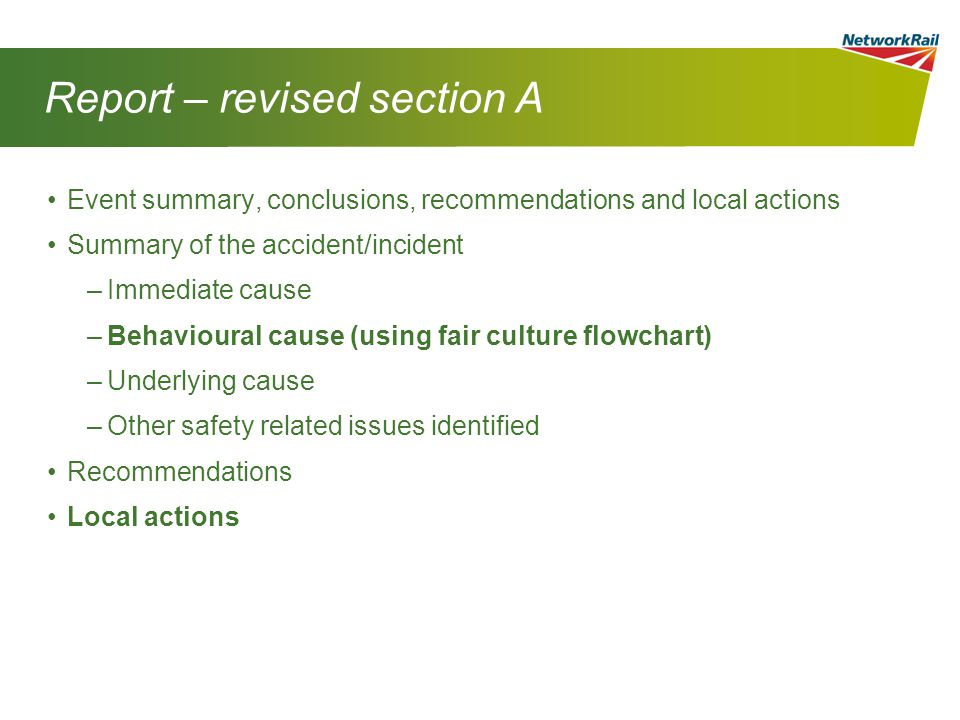 Report – revised section A