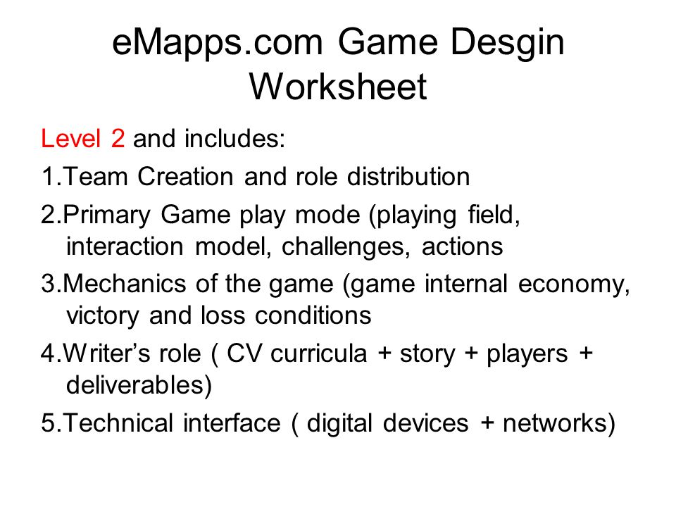 eMapps.com Game Desgin Worksheet