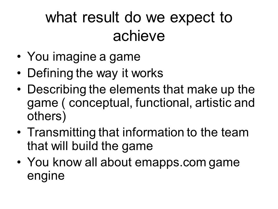 what result do we expect to achieve