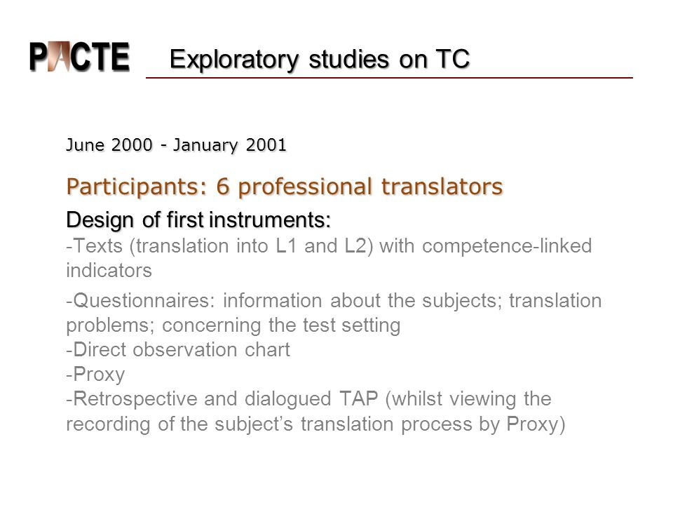 Exploratory studies on TC