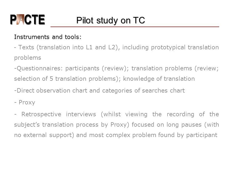 Pilot study on TC