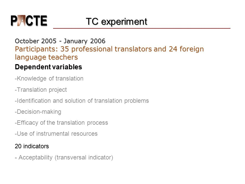 TC experiment October 2005 - January 2006. Participants: 35 professional translators and 24 foreign language teachers.