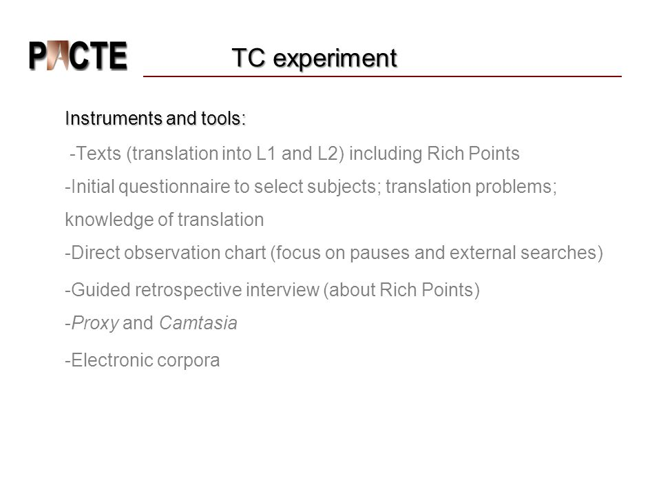 TC experiment