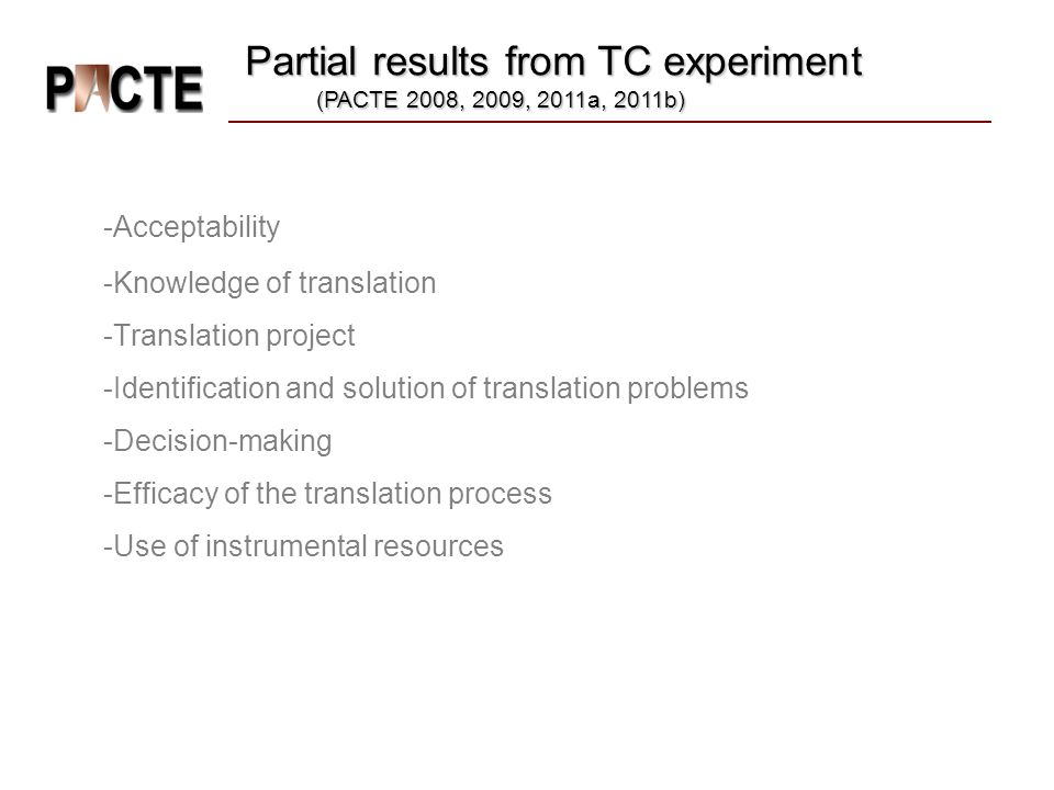 Partial results from TC experiment