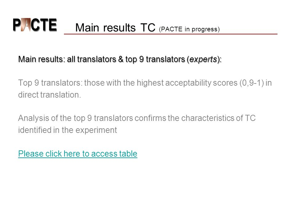 Main results TC (PACTE in progress)