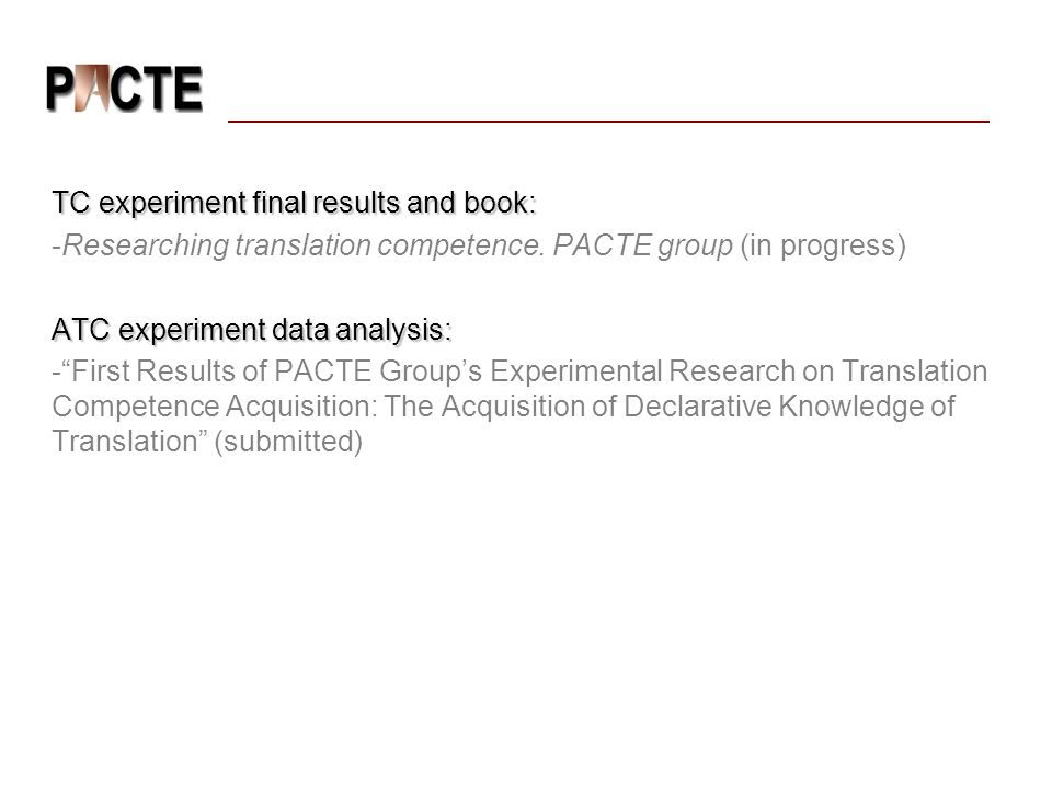 TC experiment final results and book: