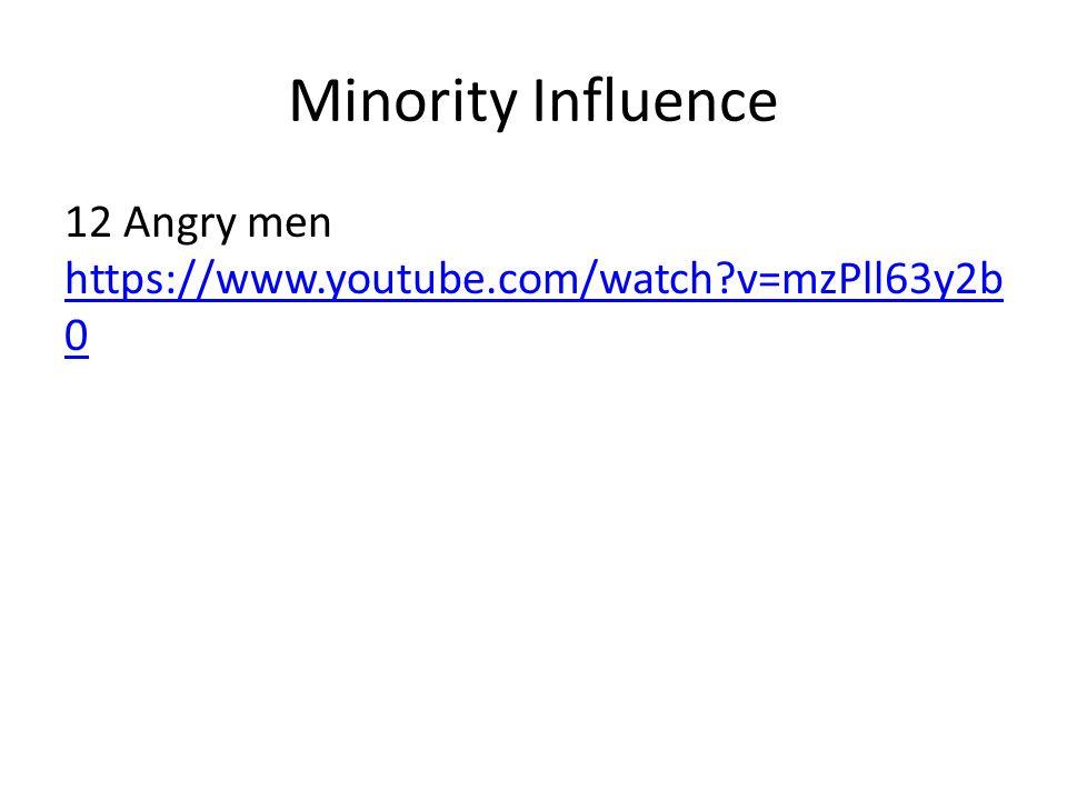 Minority Influence 12 Angry men https://www.youtube.com/watch v=mzPll63y2b0