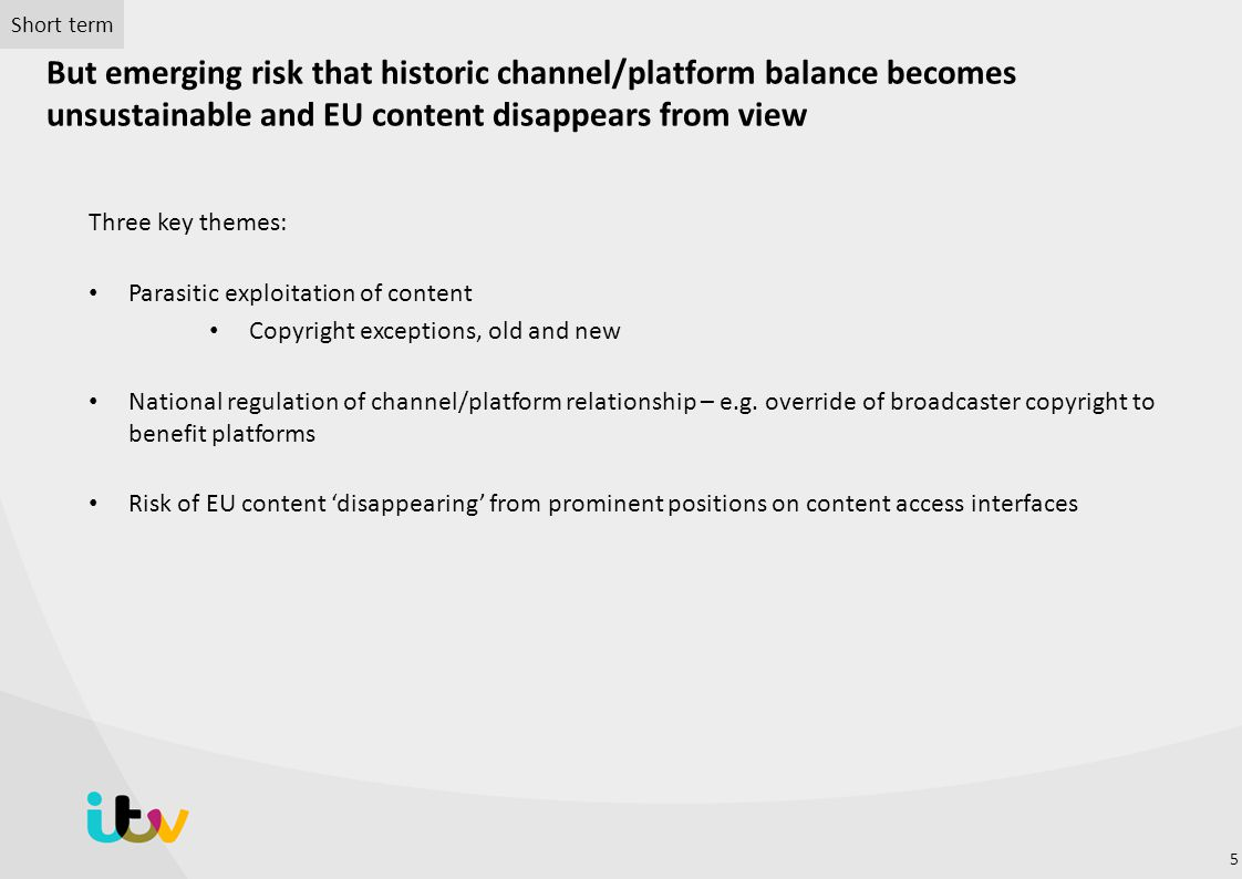 Short term But emerging risk that historic channel/platform balance becomes unsustainable and EU content disappears from view.