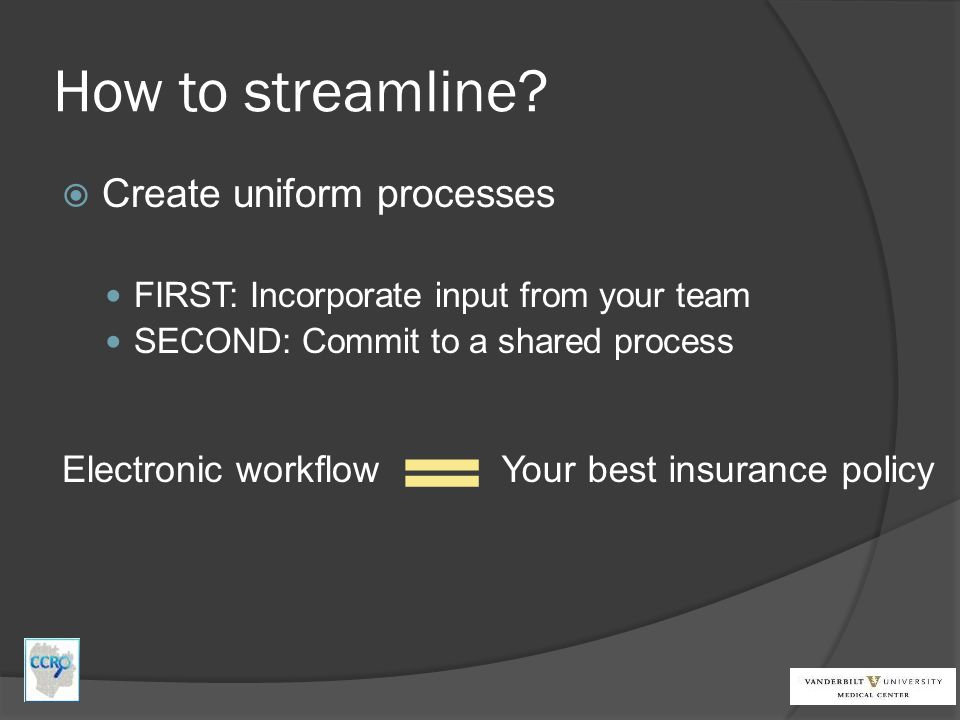 How to streamline Create uniform processes Electronic workflow